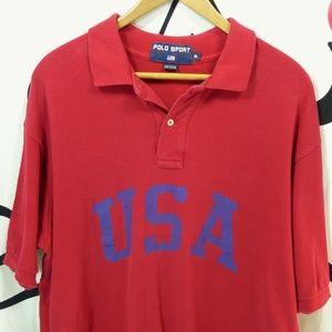 vtg POLO SPORT Ralph Lauren USA Red Polo Shirt XL